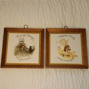 Vintage Holly Hobbie Tiles/ Holly Hobbie Frames